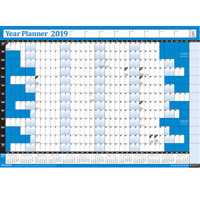 2019 Year Wall Planner Calendar Chart For Home/Office/Work NON LAMINATED - BLUE