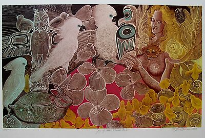 ALICE ASMAR JOY OF THE ETERNAL NOW Hand Signed Limited Editon Serigraph COCKATOO