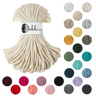 New Colours! 100% Cotton 5mm Bobbiny Rope 50m - Cotton Cord
