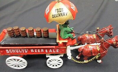 Cast Iron Toy Shultz Beer Wagon and Horse