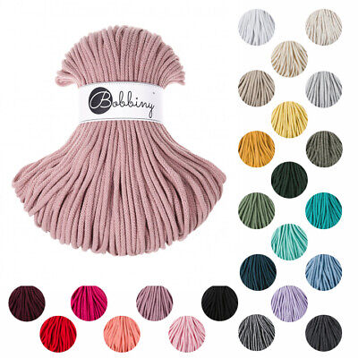 NEW COLOURS! 100% Cotton 5mm Bobbiny Rope 100m - Macrame Cord