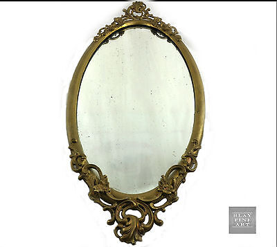 Antique Bronzed Cast Oval Ornate Heavy Victorian Antique Glass Mirror