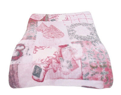 Coperta Irge invernale in pile coral plaid 2 piazze cuore shabby rosa