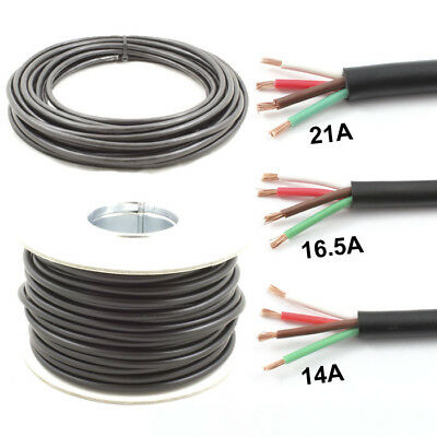4 Core Cable 12v 24v Thin Wall Wire (14A 16.5A 21A) Trailer LED Lights etc