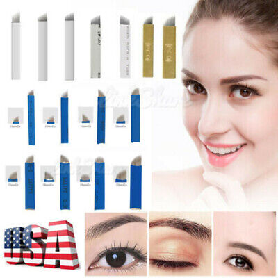 US 50 100 PCS Permanent Makeup Eyebrow Tattoo Blade Microblading Needles Portabl