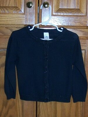 Carter's, Girls Black Cardigan, Size 2T, Long Sleeve, Buttons Down, Crew Neck