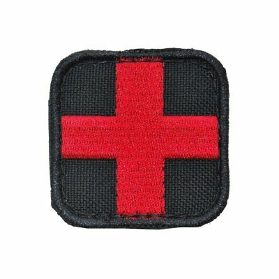 "2"" US Military Tactical Morale Medic Red Cross Patch Combat Badge EMS EMT Black"