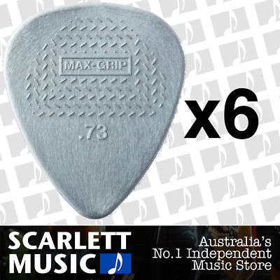 6 X Jim Dunlop Max Grip Nylon 0.73mm .73 Gauge Grey Guitar Picks *SIX PICKS*