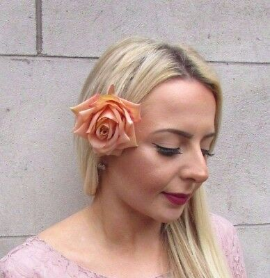 Large Beige Nude Rose Flower Hair Clip Bridesmaid Fascinator Floral Vintage 4433