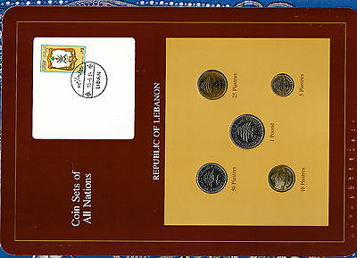 Coin Sets of All Nations Lebanon 1975-1981 UNC 10 Piastres 1980 1 Pound 1981