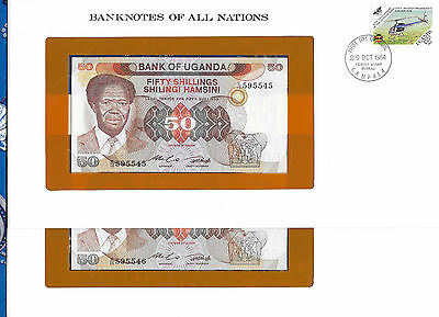 Banknotes of All Nations Uganda 1985 P20 50 shillings UNC C/10 2 Consecutive