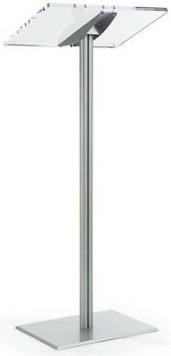 Displays2go Floor Standing Speaking Podium, Slanted Top, Quick Assembly, Silver