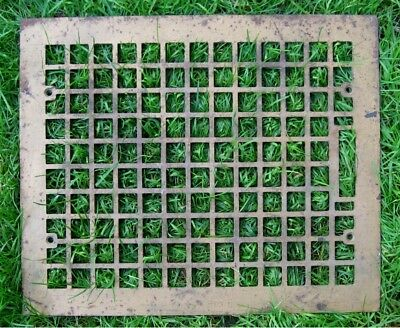 "Antique CAST IRON VICTORIAN FLOOR REGISTER HEAT GRATE 14"" x 17"" Art Deco"