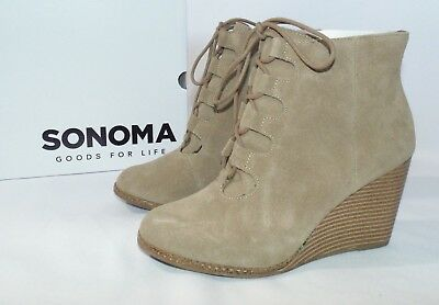 SONOMA Rory Womens Shoes Ankle Boots Chalk Beige Cowboy Boot Zipper Size 5 NEW