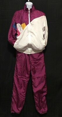 Womens Colorblock Rock Creek Vintage 80s 90s Nylon Windbreaker Suit Jacket Pants