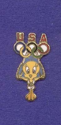 USA Olympic Team Tweety Bird Gymnastic Rings Warner Bros WB Cartoon Lapel Pin