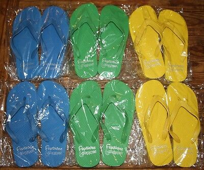 6 Pairs, New Rubber Flip-Flops, Size Fits Women's 6-7.5, Assorted Colors