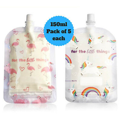 Sinchies 150ml Flamingos & Unicorns Reusable Food Pouches Top Spout Pack of 10