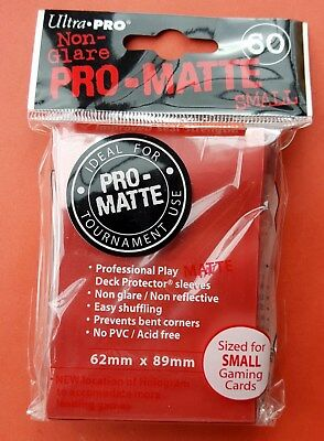 60 Ultra-Pro SMALL MATTE Deck Protector RED Yu-Gi-Oh! Sleeves