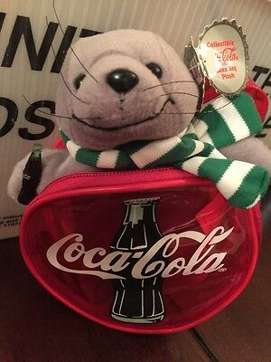 Coca Cola Seal In Green Striped Scarf Collectible Bean Bag Plush 1997 With Bag