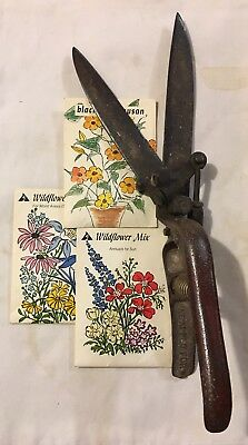 Vtg Lawn & Garden Hand Tool Clippers + Lot Applewood Flower Seed Packs