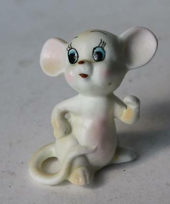 Vintage Bone China White Mouse Hand Painted Figure-Adorable-Made in Japan-Label