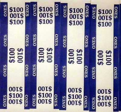 50 - Blue $1 Self-Sealing Currency Bands - $100 Cash - Money Straps For Ones