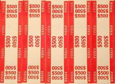 25 - Red $5 Self-Sealing Currency Bands - $500 Cash - Money Straps For Fives