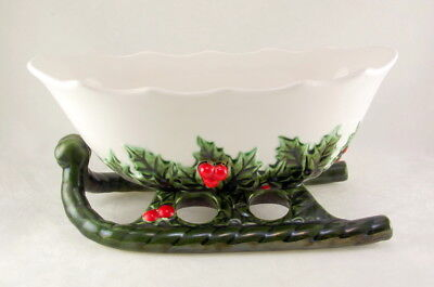 Lefton 1408 porcelain holly berry green white sleigh planter candy dish vintage