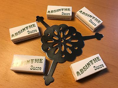 Round Absinthe Grille Spoon & 10 Sugar Cubes - Free Shipping !!!
