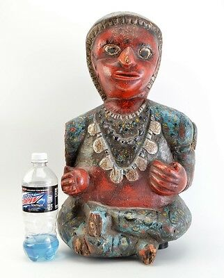"""Rare Antique Hand-Carved Hand-Painted 21"""" South Indian Tribal Seated Figure V31"""
