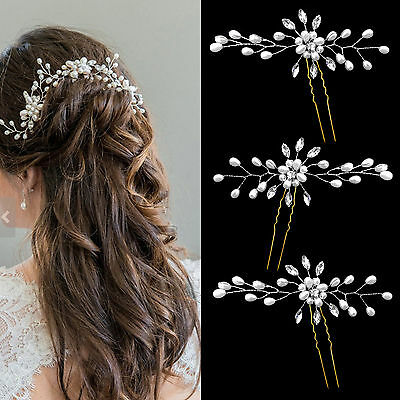 3PCS Pearl Crystal Flower Barrette Hair Clips Clamp Wedding Bridal Hairpin Clip