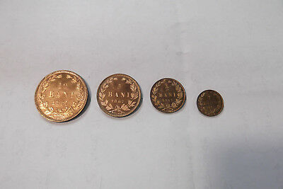 1867 Romania 1,2,5, And 10 Bani Proof (4 Coins) Cu Km1-4  .... Free Shipping