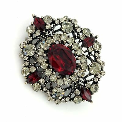 Edwardian Antique Foliate Filigree Dome Oval Dark Red Stone Art Deco Brooch Gold