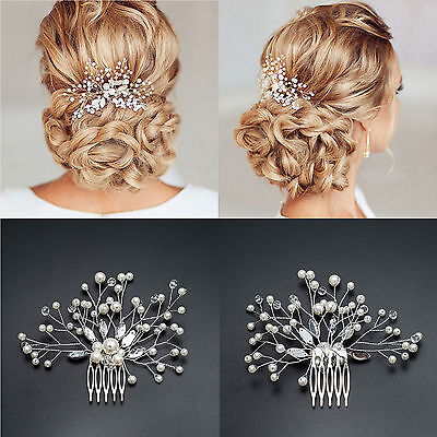 Au Bridal Wedding Crystal Jewel Diamante Hair Comb Hair Piece Clip Fascinator