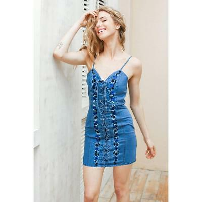 141866ddd526d EMBROIDERED FLORAL SPAGHETTI Strap 90s Vintage Jean Mini Dress ...