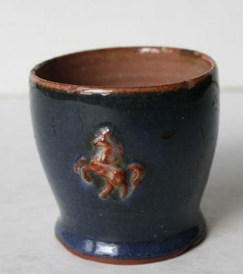 Beverley Yorkshire Relief Horse Blue Glazed Pottery Trinket Holder-Small Cup