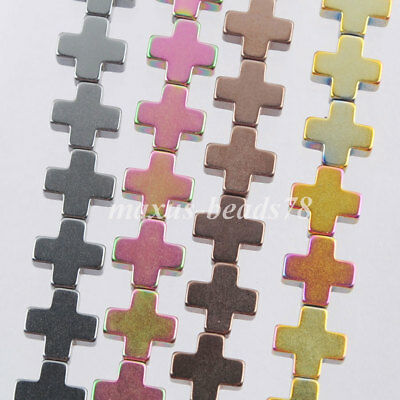 Hematite Gemstone Cross Spacer 3x8mm Loose Beads For Making Jewelry MBL311