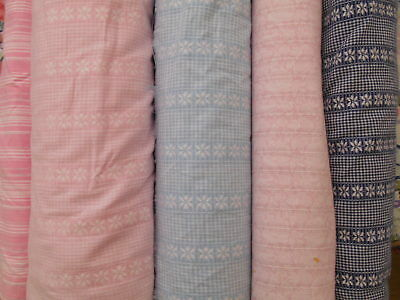 VINTAGE FABRIC - 100% COTTON -WOVEN PATTERN - NAVY..BLUE..PINK- P/Mt. CLEARANCE