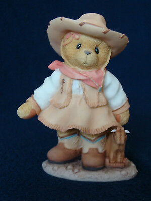Cherished Teddies - Sierra - Cowgirl With Toy Cow Figurine - Limited - 466271