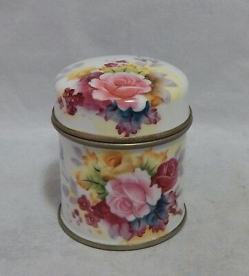 Vintage Fine China with Crown Mark Hand Painted Roses Covered Jar