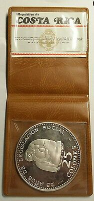 "1970 Costa Rica .999 Silver Proof 25 Colones ""Mother & Child"" Free Shipping!"