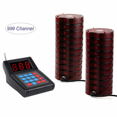 Restaurant Wireless Paging Queuing Calling System+1 Transmitter+20 Coaster Pager