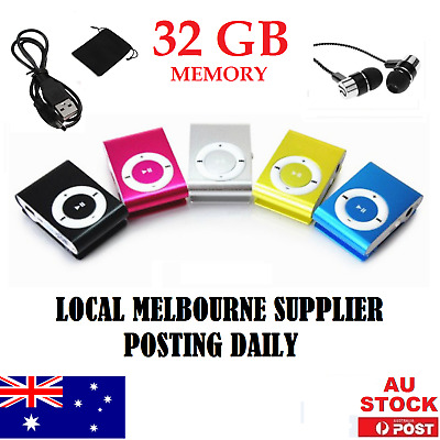 *32GB Metal USB 2.0 Mini Clip On Portable MP3 Music player +  Stereo Earphones*