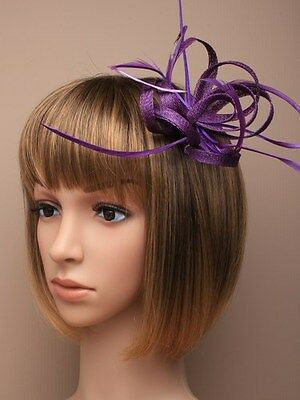 Purple Looped Hessian net and Feather Fascinator on hair clip with brooch pin
