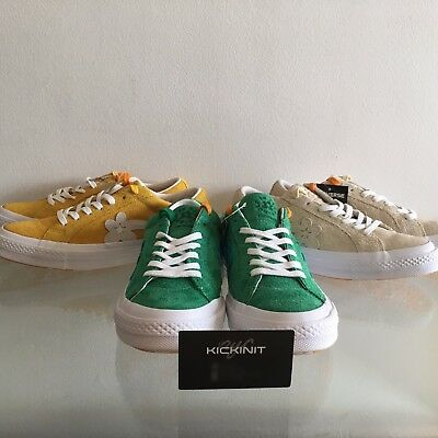 Details about TYLER THE CREATOR CONVERSE GOLF LE FLEUR LOW TOP YELLOW GREEN VANILLA SIZE 4 12