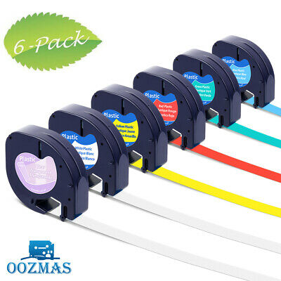 6PK 16952 91331 91332 Plastic Tape Compatible DYMO Letratag Label Maker 12mm x4m