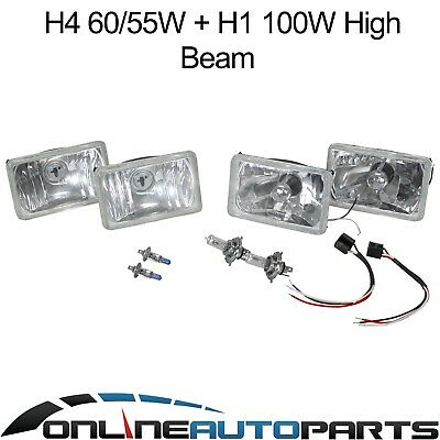 Halogen Crystal Semi Sealed Headlight Set of 4 Lamps suits Landcruiser 80 Series