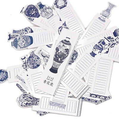 30 Pcs/pack Creative Blue and white porcelain Exquisite Bookmark Message Card