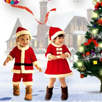 Kid's Christmas Suit Costume Xmas Santa Claus Boy Girl Clothes Suit Outfits New.